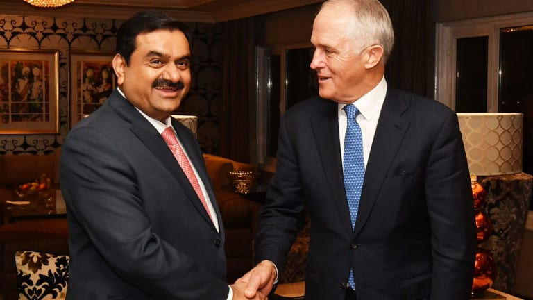 Adani Group founder and chairman Gautam Adani meets Prime Minister Malcolm Turnbull in Delhi in April.