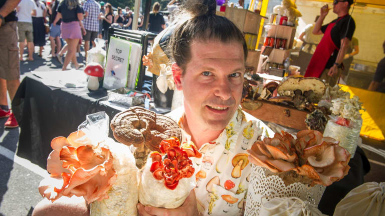Founder of Fungi Co, Peter Wenzel with some of his mushroom produce sold at the Forage.