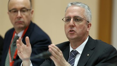 Fronting up: ABC managing director Mark Scott at the  Senate Estimates hearing in Canberra.