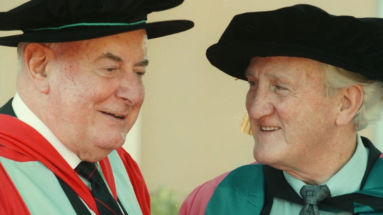 Mr Whitlam, pictued with Mr Uren, after he received an honorary degree from Charles Stuart University.