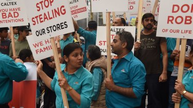 Caltex franchise owners protested in Sydney on Wednesday against their treatment by head office.