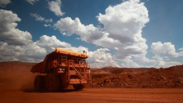 A driverless haul truck on the move in Western Australia's Pilbara.