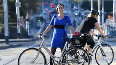 Katherine Copsey, acting mayor of Port Phillip Council, on St Kilda Road.