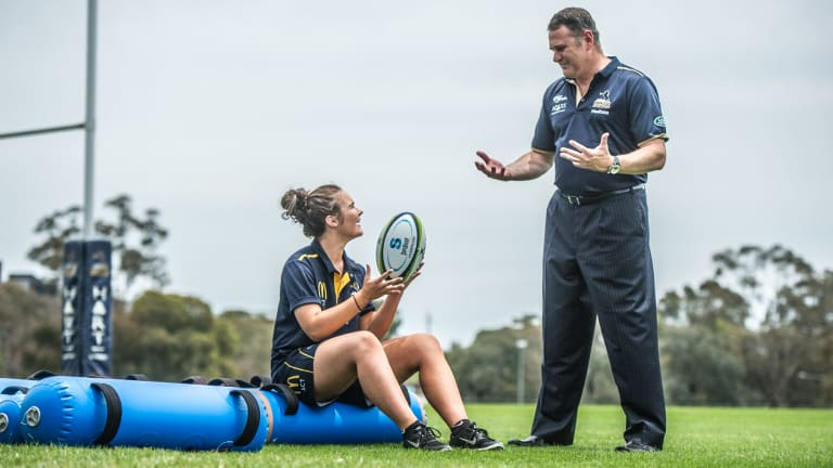 New Brumbies women's coach Tony Doherty and scrumhalf Jane Garraway.