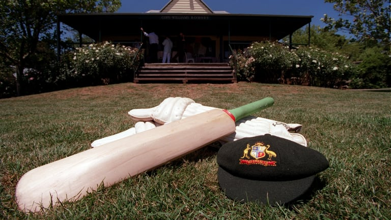 A cricket bat and cap at the launch of the Australian Cricket Bat Willow Project.