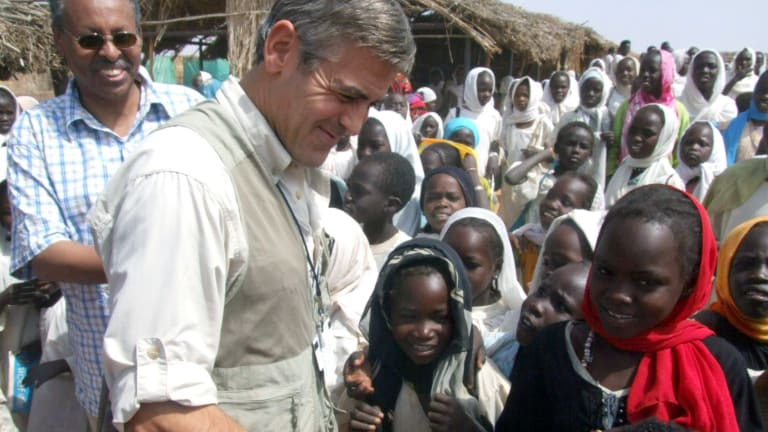 George Clooney in Darfur, Sudan, as part of his designated work as a UN messenger of peace in 2008.