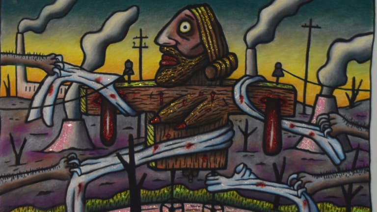 Reg Mombassa, <i>Australian Jesus is Stripped Bare</i> in <i>Stations of the Cross</i>, Chapel, Australian Centre for Christianity and Culture.