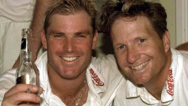 Shane Warne and Ian Healy after Australia's Ashes victory at Trent Bridge in 1997.