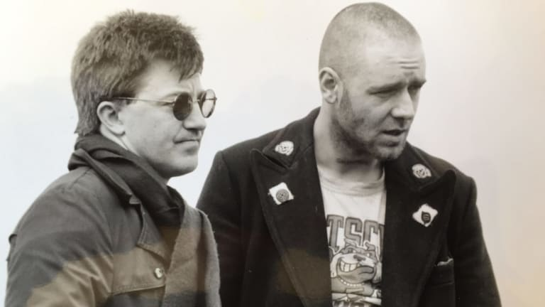Geoffrey Wright with Russell Crowe on the set of the 1992 movie.