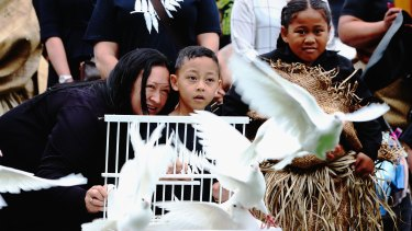 Jonah Lomu's son Brayley watches as doves are released during the public memorial at Eden Park on Monday.