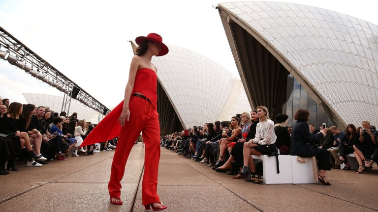 A model on the runway during the Mercedes-Benz Presents Dion Lee show at Mercedes-Benz Fashion Week Resort at the Sydney Opera House on Sunday.