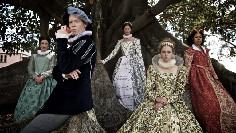 The <i>Love's Labour's Lost</i> cast (from left) Madeleine Jones, Gabrielle Scawthorn, Lara Schwerdt, Emily Eskell and Sabryna Te'o.