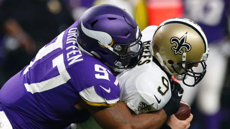 Rematch: Drew Brees is sacked by Everson Griffen back in September.