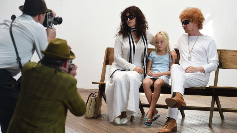 Jessica White (left) as Wendy Whiteley, Olivia Slavtins as Arkie Whiteley and Andy Blaikie as Brett Whiteley for the documentary Whiteley.