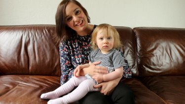 Embryologist Emily Shields with her 19-month-old daughter, Evie.