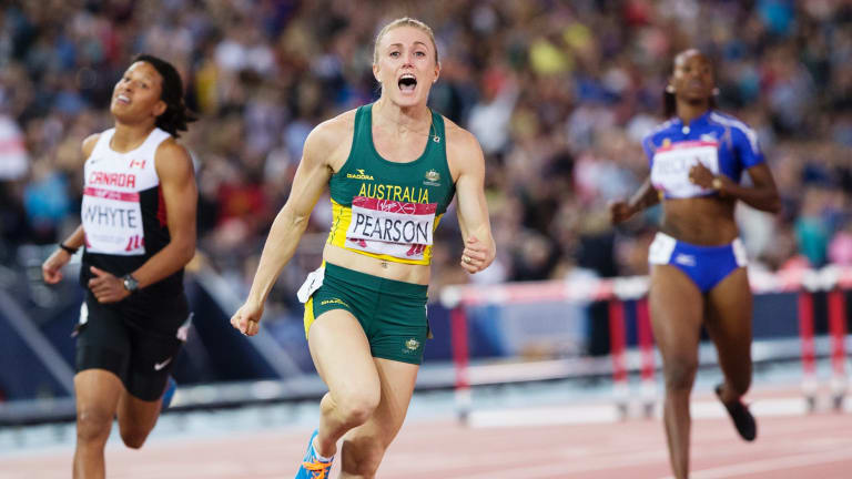 Sally Pearson, under tremendous pressure, wins the 100-metre hurdles at the Glasgow Commonwealth Games.