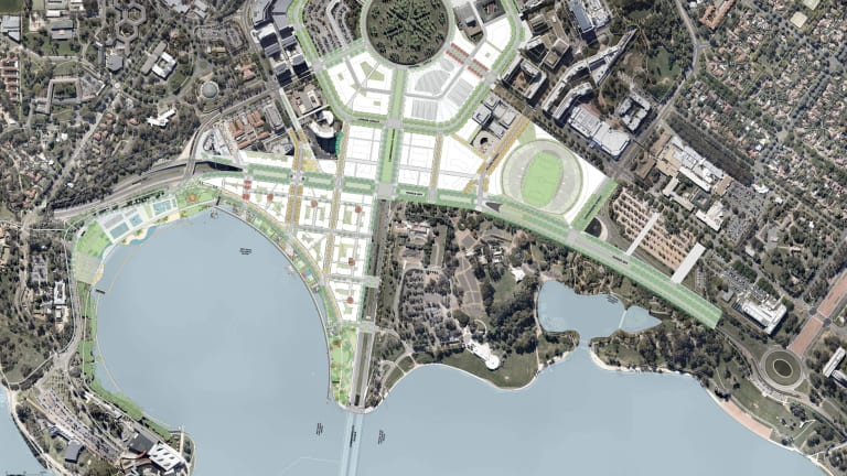 An aerial diagram of the City to the Lake development area. Questions remain as to whether the Parkes Way/Coranderrk Street roundabout will have to be moved before UNSW redevelops a Constitution Avenue car park.