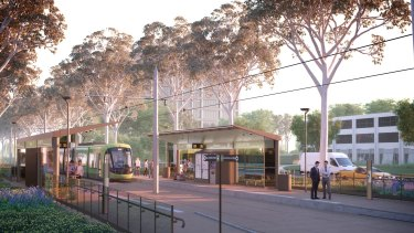 An artist's impression of the Capital Metro Gungahlin tram line showing the light rail stations once trees have grown back.