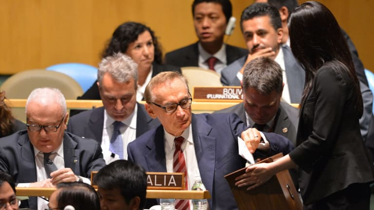 Former foreign minister Bob Carr casts a ballot the 2012 vote that saw Australia become a temporary member of the United Nations Security Council.