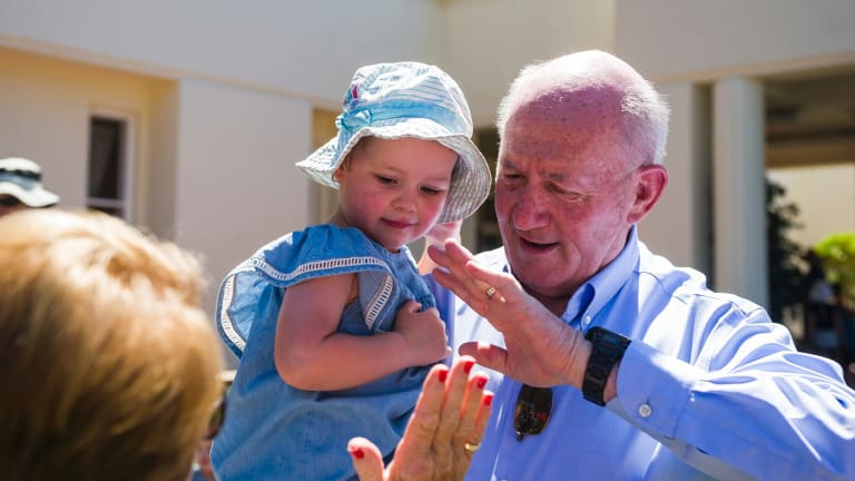Governor-General of Australia Sir Peter Cosgrove greeting people out the front of Government House.