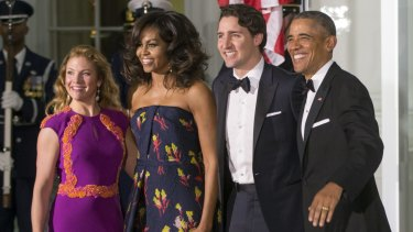 Barack and Michelle Obama welcome Canadian Prime Minister Justin Trudeau and Sophie Gregoire Trudeau to the White House.