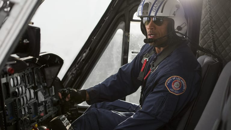 Dwayne Johnson at the controls of the CareFlight Bell 412 in San Andreas.