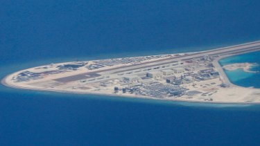 Chinese structures and an airstrip on the man-made Subi Reef at the Spratly group of islands in the South China Sea.