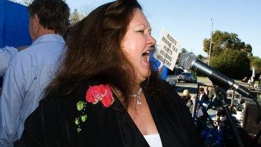 Mining magnate Gina Rinehart at a mining tax protest.