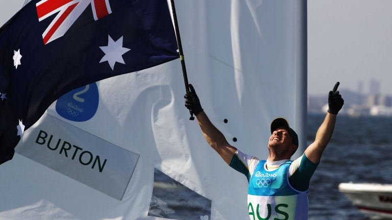 Golden moment: Australia's Tom Burton celebrates.