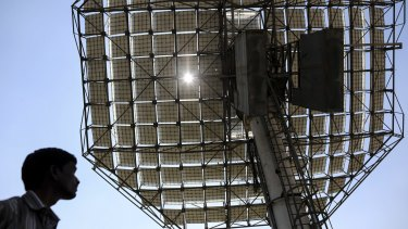 Solar energy is catching on: a paraboloid solar concentrating reflector being developed in India.