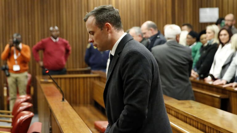 Oscar Pistorius reacts after sentencing at South Africa's High Court on July 6.