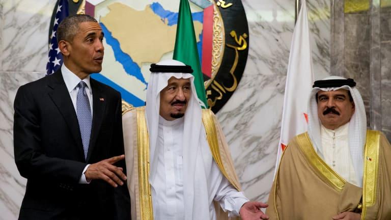 From left, President Barack Obama, Saudi Arabian King Salman, and Bahraini King Hamad bin Isa al Khalifa in Riyadh, Saudi Arabia, in April.