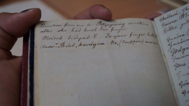 Part of William Dawes' notebooks from the 1790s containing wordlists and sentences from the Aboriginal language of Sydney.