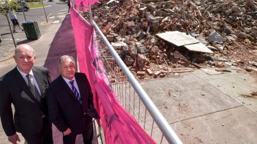 Planning Minister Richard Wynne and Lord Mayor Robert Doyle at the Carlton site on Tuesday.