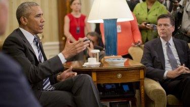 President Barack Obama, left, with FBI Director James Comey, right.