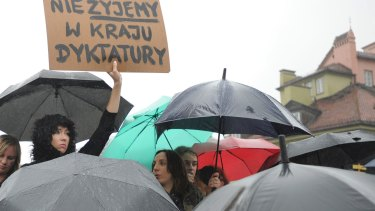 Women gather at the Castle Square in Warsaw, Poland on Black Monday.