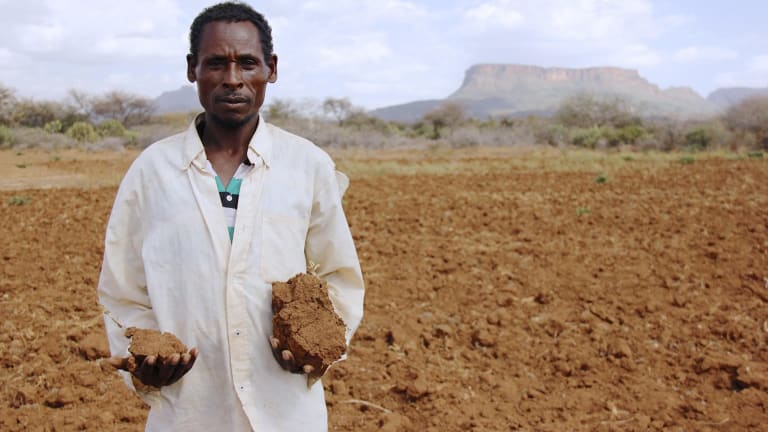 A farmer in his barren field in Sewena, Bale Zone, Ethiopia.