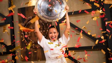 Diana Chan celebrates her victory during the 2017 <i>MasterChef</i> grand final.
