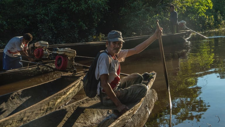 Garcia fishes outside of Intuto, Peru. He is now the last native speaker of their language.