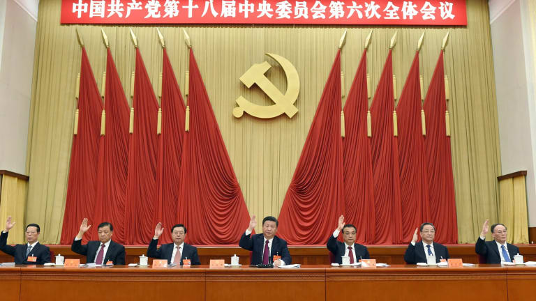 Chinese President Xi Jinping, in the Politburo. China sees Taiwan as a province, not a separate nation.