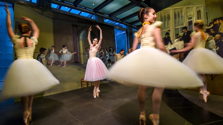 Dancers from the Australian Ballet School at the announcement of the NGV's 2016 Winter Masterpieces exhibition, Degas: A New Vision.