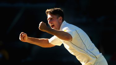 MELBOURNE, AUSTRALIA - DECEMBER 29:  Mitch Marsh of Australia celebrates getting the final wicket and winning the match during day four of the Second Test match between Australia and the West Indies at Melbourne Cricket Ground on December 29, 2015 in Melbourne, Australia.  (Photo by Quinn Rooney/Getty Images)