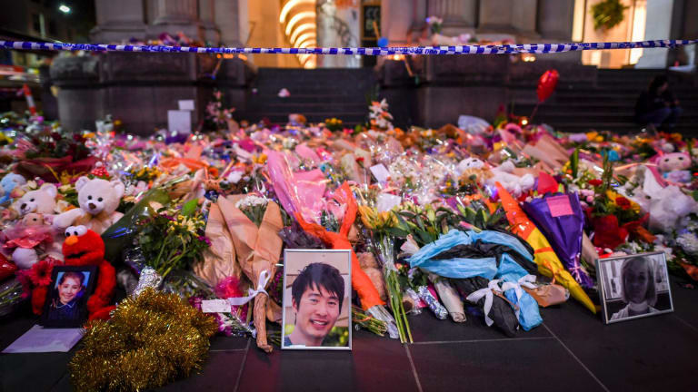 Floral tribute at the Bourke Street Mall.