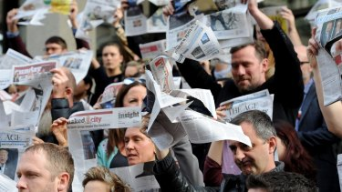 Staff walked out in protest of Fairfax Media's staff cuts.