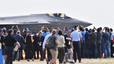 Crowds get up close and personal with an F-35 Joint Strike Fighter
