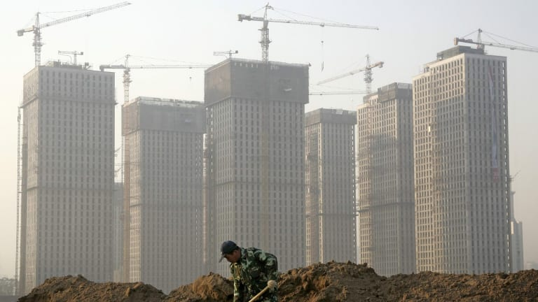 A high-rise construction site in Taiyuan, in north China's Shanxi province.