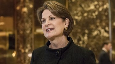 Marillyn Hewson, president and chief executive of Lockheed Martin, in the lobby of Trump Tower in New York, prior to Trump's inauguration.