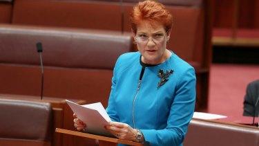 "In her first speech in the Senate last week, Pauline Hanson said Australia was in danger of being ""swamped"" by Muslims."