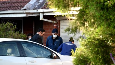 Detectives at the scene of the St Albans stabbing.