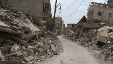 The streets of Jobar, the closest area to the capital to fall into rebel hands.